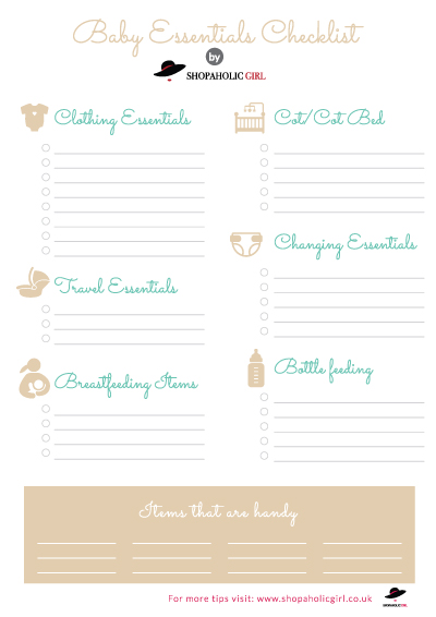 Baby Checklist Blank Template